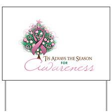 Pink Ribbon Xmas Tree Yard Sign