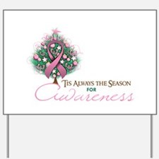 Pink Ribbon Xmas Tree Yard Sign