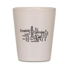 Art Word Cloud Shot Glass
