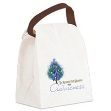 Periwinkle Ribbon Xmas Tree Canvas Lunch Bag