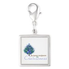 Periwinkle Ribbon Xmas Tree Silver Square Charm