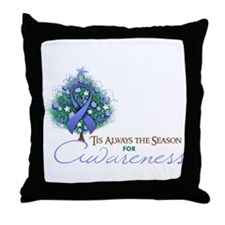 Periwinkle Ribbon Xmas Tree Throw Pillow