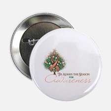 "Peach Ribbon Xmas Tree 2.25"" Button"