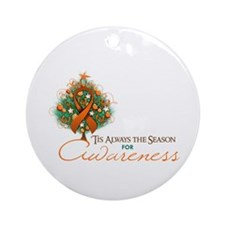 Orange Ribbon Xmas Tree Ornament (Round)