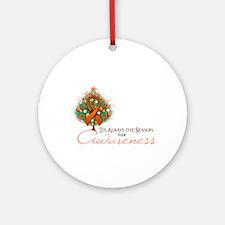 Orange Ribbon Xmas Tree Ornament (Round)