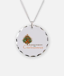 Orange Ribbon Xmas Tree Necklace