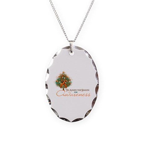 Orange Ribbon Xmas Tree Necklace Oval Charm