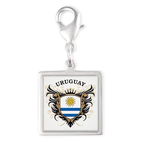 Uruguay Silver Square Charm