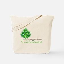 Lime Green Ribbon Xmas Tree Tote Bag