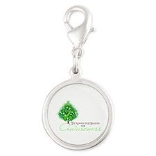 Lime Green Ribbon Xmas Tree Silver Round Charm