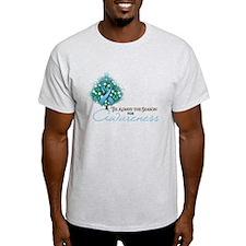 Light Blue Ribbon Xmas Tree T-Shirt