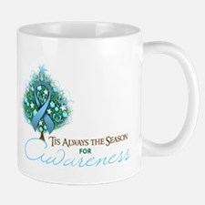 Light Blue Ribbon Xmas Tree Mug