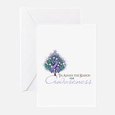Lavender Ribbon Xmas Tree Greeting Cards (Pk of 20