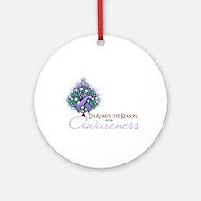 Lavender Ribbon Xmas Tree Ornament (Round)