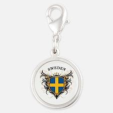 Sweden Silver Round Charm