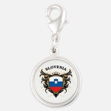 Slovenia Silver Round Charm