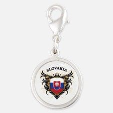 Slovakia Silver Round Charm