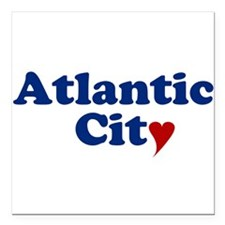 """Atlantic City with Heart Square Car Magnet 3"""" x 3"""""""