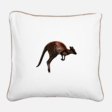 Hopping Kangaroo Square Canvas Pillow