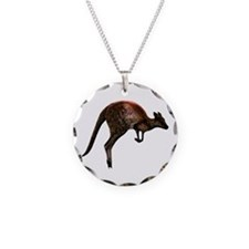 Hopping Kangaroo Necklace Circle Charm