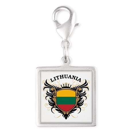 Lithuania Silver Square Charm