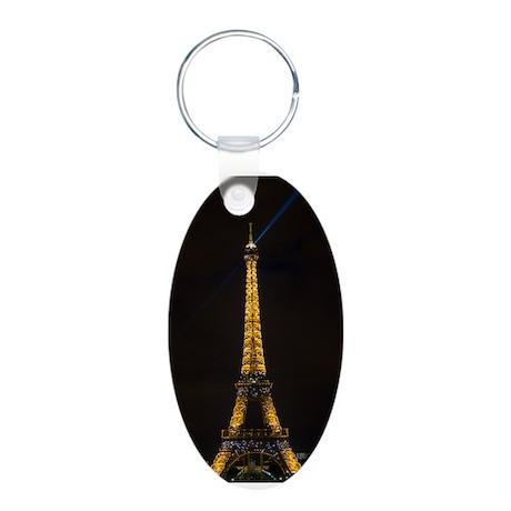 Eiffel Tower Aluminum Oval Keychain