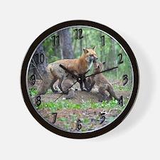 Red Fox family Wall Clock
