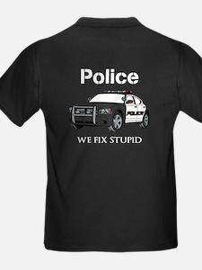 Police We Fix Stupid Backside T