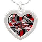 Vintage Deco Tech Silver Heart Necklace