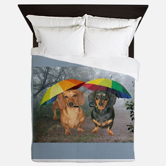 rain umbrella dogs12x16 copy.jpg Queen Duvet