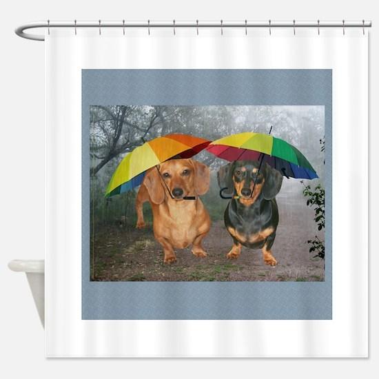 rain umbrella dogs12x16 copy.jpg Shower Curtain