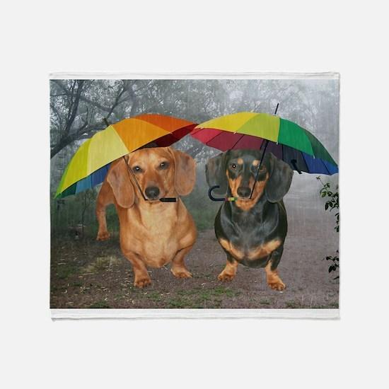 rain umbrella dogs12x16 copy.jpg Throw Blanket