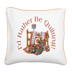 Rather Be Quilting Square Canvas Pillow