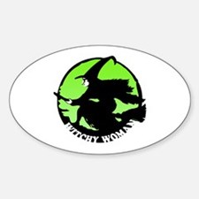 Witchy Woman (Green) Oval Decal