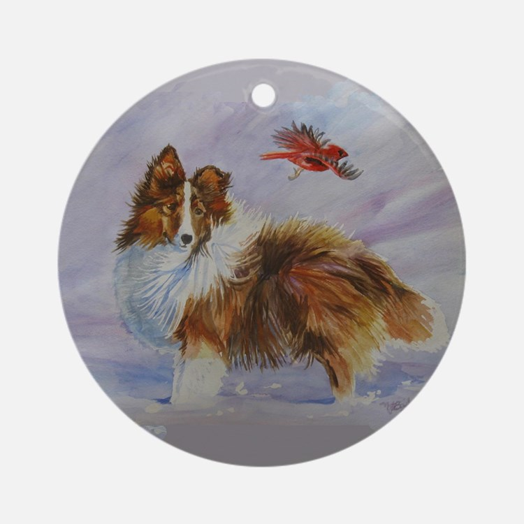 Sheltie with Cardinal Ornament (Round)