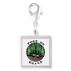 Peas On Earth Silver Square Charm
