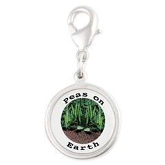 Peas On Earth Silver Round Charm