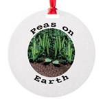 Peas On Earth Round Ornament