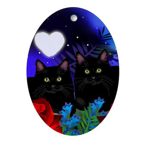 Black Cats Moon Heart Ornament (Oval)