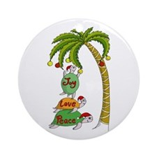 Hawaiian Christmas Turtles Ornament (Round)