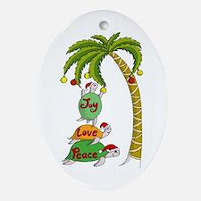 Hawaiian Christmas Turtles Ornament (Oval)