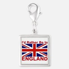 England Lover Silver Square Charm