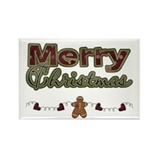 Merry Christmas Gingerbread Rectangle Magnet