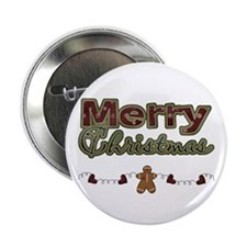 "Merry Christmas Gingerbread 2.25"" Button"