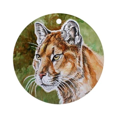 Mountain Lion Watercolor Ornament (Round)