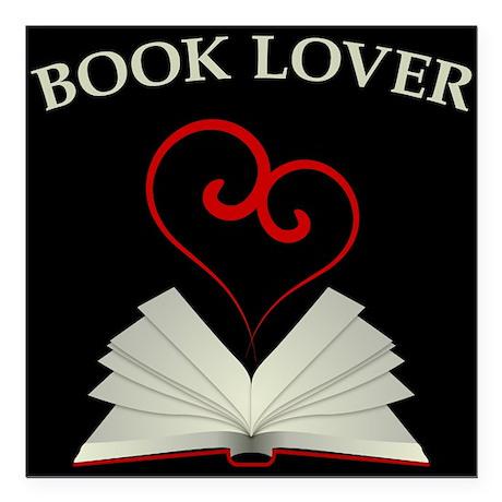 "Book Lovers Stuff Logo Square Car Magnet 3"" x 3"""