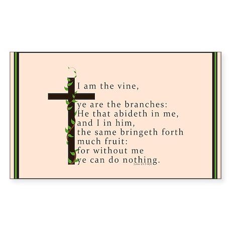 John 15 5 King James Bible Verse Sticker (Rectangl