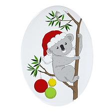 Australian Christmas Koala Ornament (Oval)