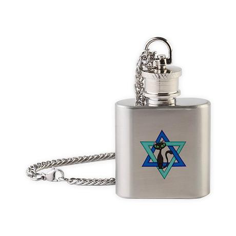 Jewish Cat Stars Flask Necklace