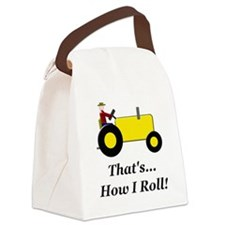 Yellow Tractor How I Roll Canvas Lunch Bag
